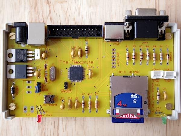 Assembled Maximite PCB and components